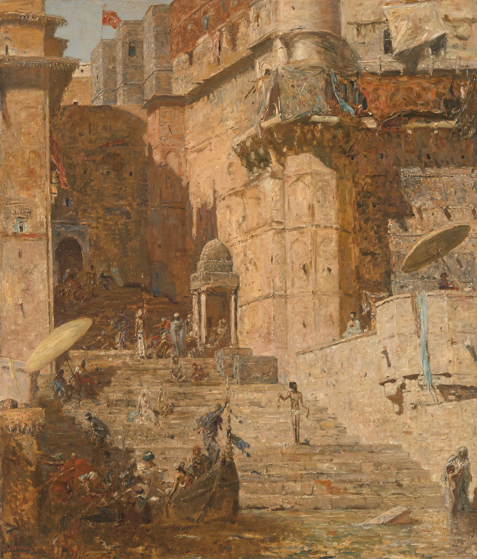 painting marius bauer of varanasi: Cutout of the steps leading into the Ganges River, India. In the middle a large stone staircase, on the left you can still see the Ramawahat Ghat (Ram Ghat) and on the right the Brij Rama Palace. Scattered people on the stairs and in the left foreground a boat in the river.