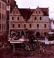 Bernardo Bellotto, Renaissance-Gewandhaus (mit zwei Giebeln) am Dresdner Neumarkt, wurde von Paul Buchner errichtet.jpg