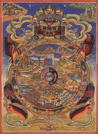 Nirvana (Buddhism) - The Bhavachakra, an illustration of the cycle of rebirth, with the three poisons at the hub of the wheel.