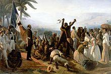 tableau représentant des esclaves fêtant leur liberté
