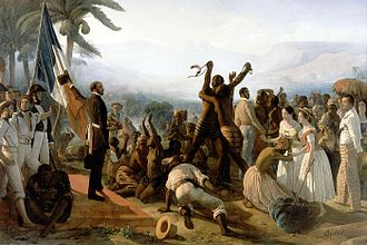 Timeline of abolition of slavery and serfdom - Proclamation of the Abolition of Slavery in the French Colonies, 27 April 1848, 1849, by François Auguste Biard, Palace of Versailles