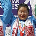 Bidyaluxmi Tourngbam (INDIA) Gold 30 km Individual Time Trial - Women Elite (WE) of cycling, at 12th South Asian Games-2016 along NH 37, at Tepesia (cropped).jpg