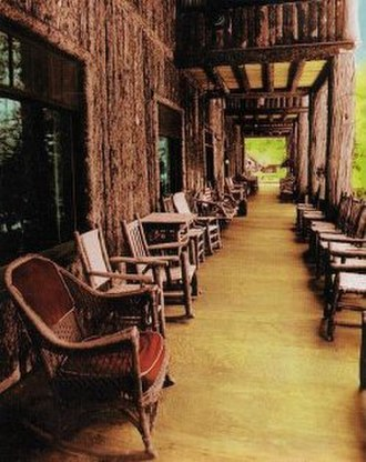 Big Moose Lake - Vertical, half-log (palisade) architecture at Covewood Lodge