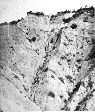 Wellington Mounted Rifles Regiment - Big Table Top; the route the regiment used to climb the cliff is shown by the dotted line.