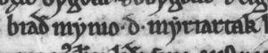 Bjaðmunjo Mýrjartaksdóttir - Image: Bjaðmunjo Mýrjartaksdóttir (AM 47 fol, fol. 34r)