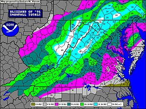 North American blizzard of 1996 - Blizzard of 1996 Mid Atlantic Snowfall accumulation. (By National Weather Service in Sterling, Virginia.)