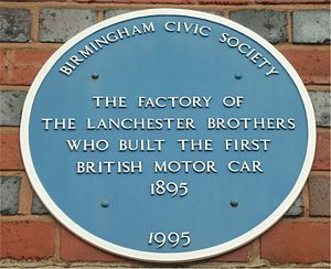 Lanchester Motor Company - Blue plaque, on former factory on Montgomery Street, Sparkbrook, Birmingham