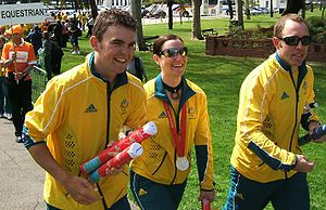 Australia at the 2008 Summer Olympics - Australian track cyclists Jack Bobridge, Anna Meares and Shane Kelly.