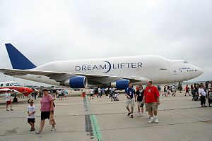 Chicago Rockford International Airport - Boeing 747 Large Cargo Freighter(Boeing 747 Dreamlifter) on static display at the 2010 Rockford AirFest