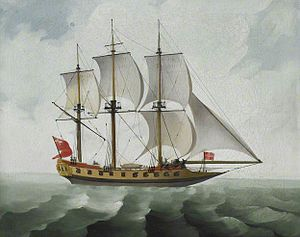 Grab (ship) - Bombay grab - a cruiser of the Bombay Marine, unknown artist c. 1780, British Library