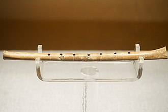 Gudi (instrument) - One of the gudi flutes discovered at Jiahu, on display at the Henan Museum