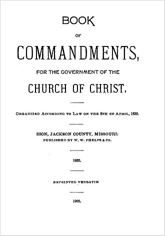 Doctrine and Covenants - Title page of the 1903 reprint of the Book of Commandments.