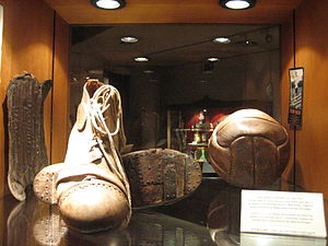 Ricardo Zamora - Footwear, shin pads and ball which belonged to Zamora, exhibited.