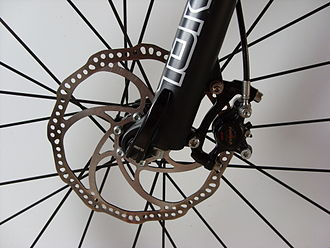 A front disc brake, mounted to the fork and hub BrakeDiskVR.JPG