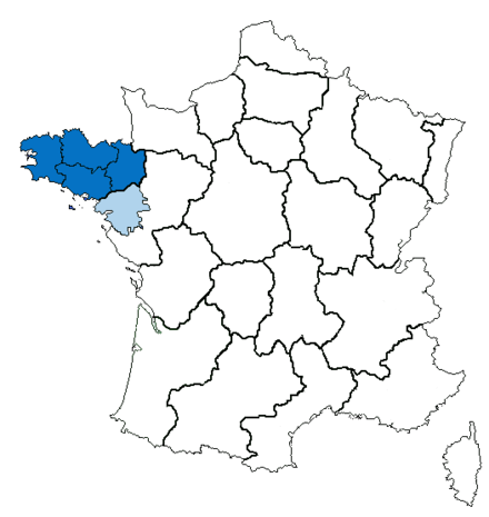 The region Brittany comprises four historical Breton départements. Loire-Atlantique, in light blue, is part of the Pays de la Loire region.