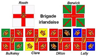 Irish Brigade (France) - Regimental flags of the Irish Brigade.