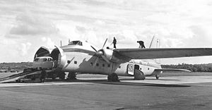 Bristol Freighter - Silver City Airways Freighter 32 loading a car for Cherbourg at Southampton in September 1954
