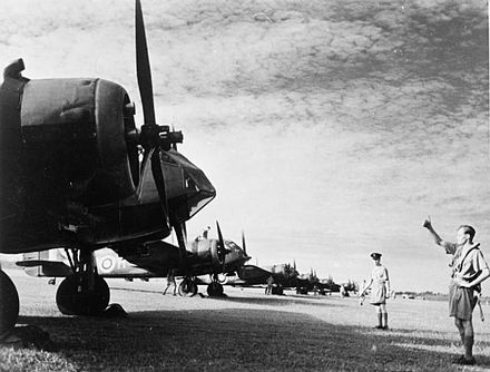 Bristol Blenheim bombers of No. 62 Squadron RAF lined up at Tengah, Singapore, 8 February 1941.
