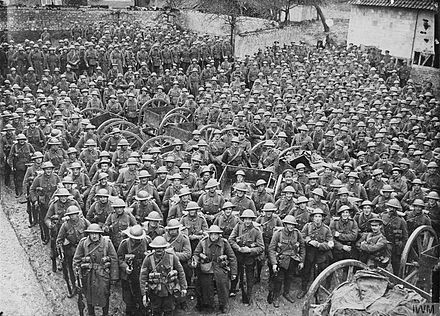 Men of the Loyal North Lancashires (believed to be 1/4th Bn) of 55th (West Yorkshire) Division before the Battle of the Somme. British Army on the Western Front, 1914-1918. Q520.jpg