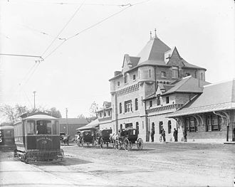 Ottawa Electric Railway - Broad Street Station, Lebreton Flats; royal mail streetcar (likely early 1900s)