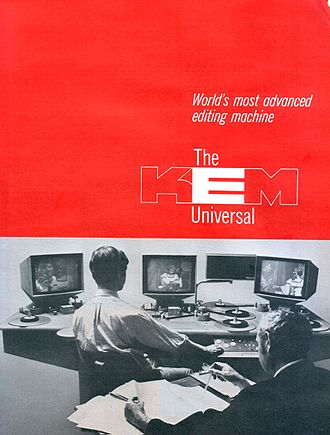 Flatbed editor - Brochure of KEM horizontal editing table from 1969