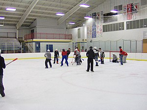 Broomball - College students play broomball as a social event.