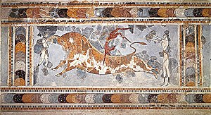 Bull-leaping - The Bull-Leaping Fresco from the Great Palace at Knossos, Crete