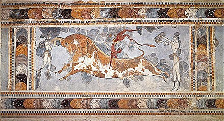 The Bull-Leaping Fresco from the Great Palace at Knossos, Crete. Sport has been an important part of Western cultural expression since Classical Antiquity. Bull-leaping.jpg