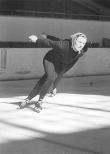 Helga Hasse skating in an ice rink