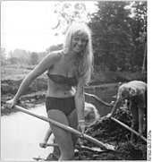 9202033cd3 A first socialist camp student wearing a bikini in Leipzig, East Germany,  1959