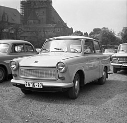 The Trabant automobile was a profitable product made in the German Democratic Republic. Bundesarchiv Bild 183-P0619-306, Trabant 601.jpg