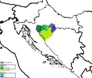 Burgenland Croatian - A map depicting the Una River origin theory for the Brugeland Croats