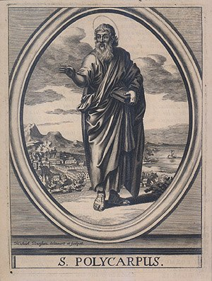 Apostolic Fathers - St. Polycarp, depicted with a book as a symbol of his writings.