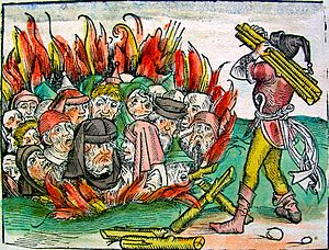 History of the Jews in Germany - Jews burned alive for the alleged host desecration in Deggendorf, Bavaria, in 1338, and in Sternberg, Mecklenburg, in 1492; a woodcut from the Nuremberg Chronicle (1493)