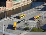 Buses seen from Christiansborg Palace 02.JPG