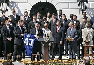 Peyton Manning - Manning and the 2006 Colts visit President George W. Bush at the White House.