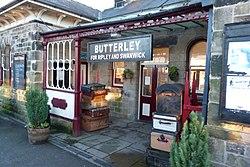 Butterley railway station, Derbyshire, England -entrance-19Jan2014.jpg