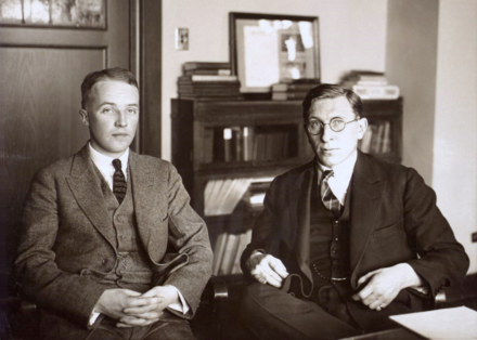 Frederick Banting (right) joined by Charles Best 1924 C. H. Best and F. G. Banting ca. 1924.png