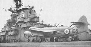 USS Antietam (CV-36) - Royal Navy Sea Hawk on Antietam in 1953