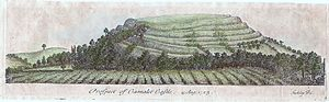 "Cadbury Castle, Somerset - Engraving of Cadbury Castle, drawn in 1723 by William Stukeley and captioned ""Prospect of Camalet Castle"""