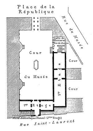 Musée des Beaux-Arts de Caen - Map of the museum in 1893.