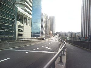 Cahill Expressway - The Cahill Expressway viewed from the vicinity of Macquarie Street, Sydney