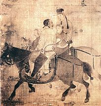 A faded painting with three people on two horses. The nearer horse is black, and a man sits on it facing the farther horse. The farther horse is white and a woman sits on it, holding a small child.