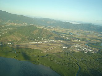 Cairns Airport - Aerial View of runway and terminal to the right