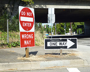 "Wrong-way driving - Many jurisdictions display ""Wrong Way"" signs at freeway off-ramps to discourage wrong-way driving. Sometimes they are combined on freeway off-ramps with ""Do Not Enter"" and ""One Way"" signs."