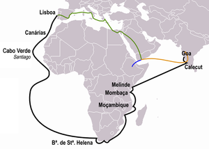 Timeline of international trade - This figure illustrates the path of Vasco da Gama heading for the first time to India (black) as well as the trips of Pêro da Covilhã (orange) and Afonso de Paiva (blue). The path common to both is the green line.
