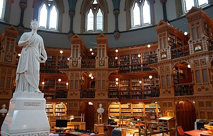 The main reading room of the Library of Parliament Canadian Parlimentary Library Interior.jpg