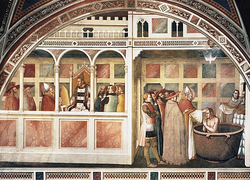 Maso di Banco, San Silvestro presenta le sacre immagini a Costantino e Battesimo di Costantino, 1337 ca.Cappella Bardi di Vernio, Santa Croce, Firenze