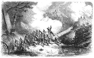 King Philip's War - Engraving depicting the colonial assault on the Narragansetts' fort in the Great Swamp Fight in December 1675