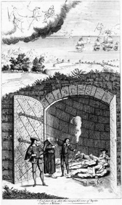 El sitio de Cartagena de Indias. 250px-Caricature_Prison_1738